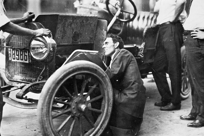 Kettering working on automobile 1913. Photo courtesy General Motors
